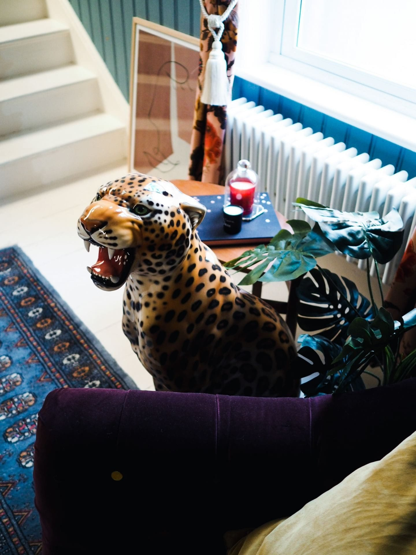 fashion for lunch home leopard figurine statue
