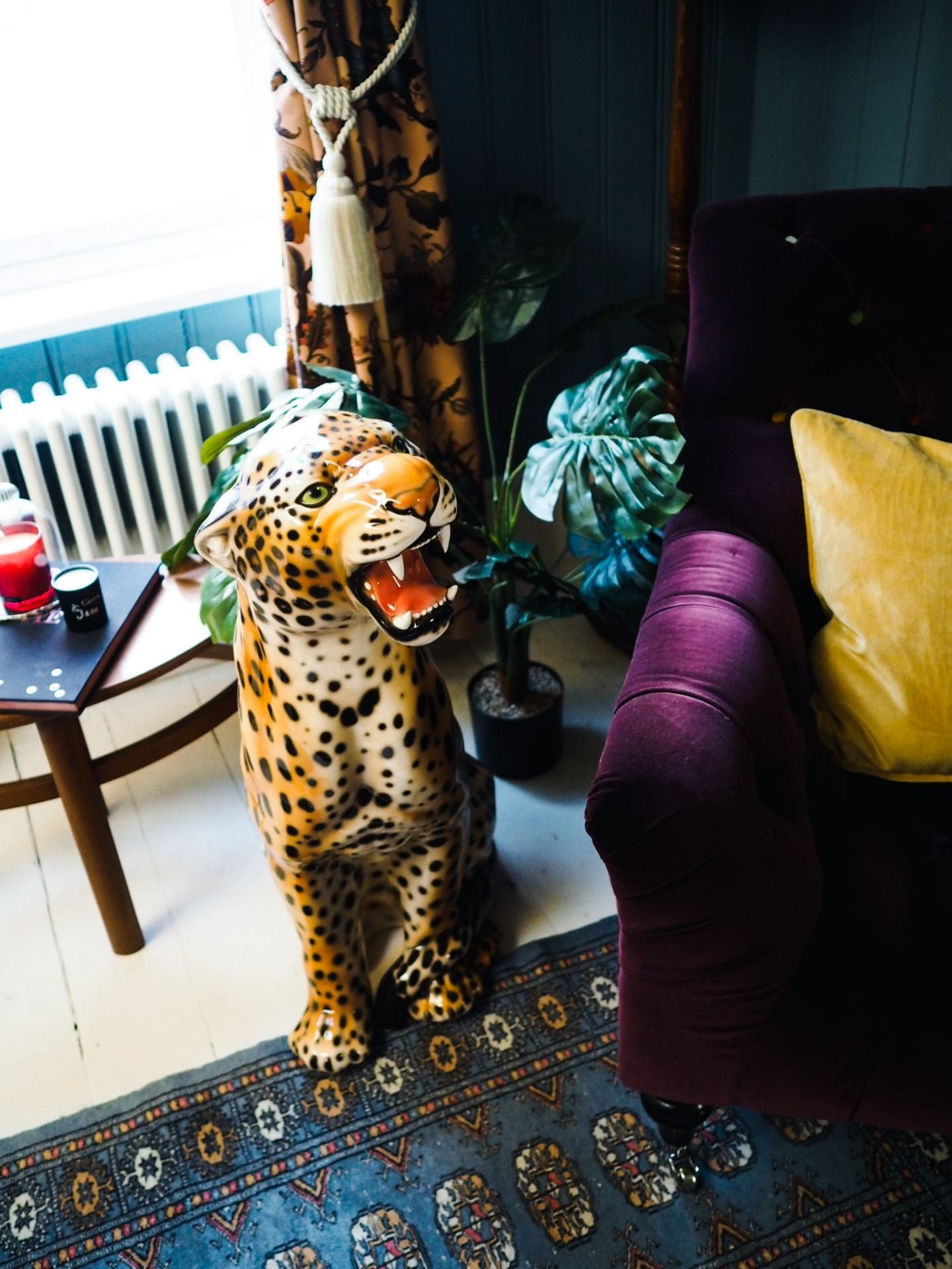 fashion for lunch home leopard figurine statue matalan cushion matalan plant