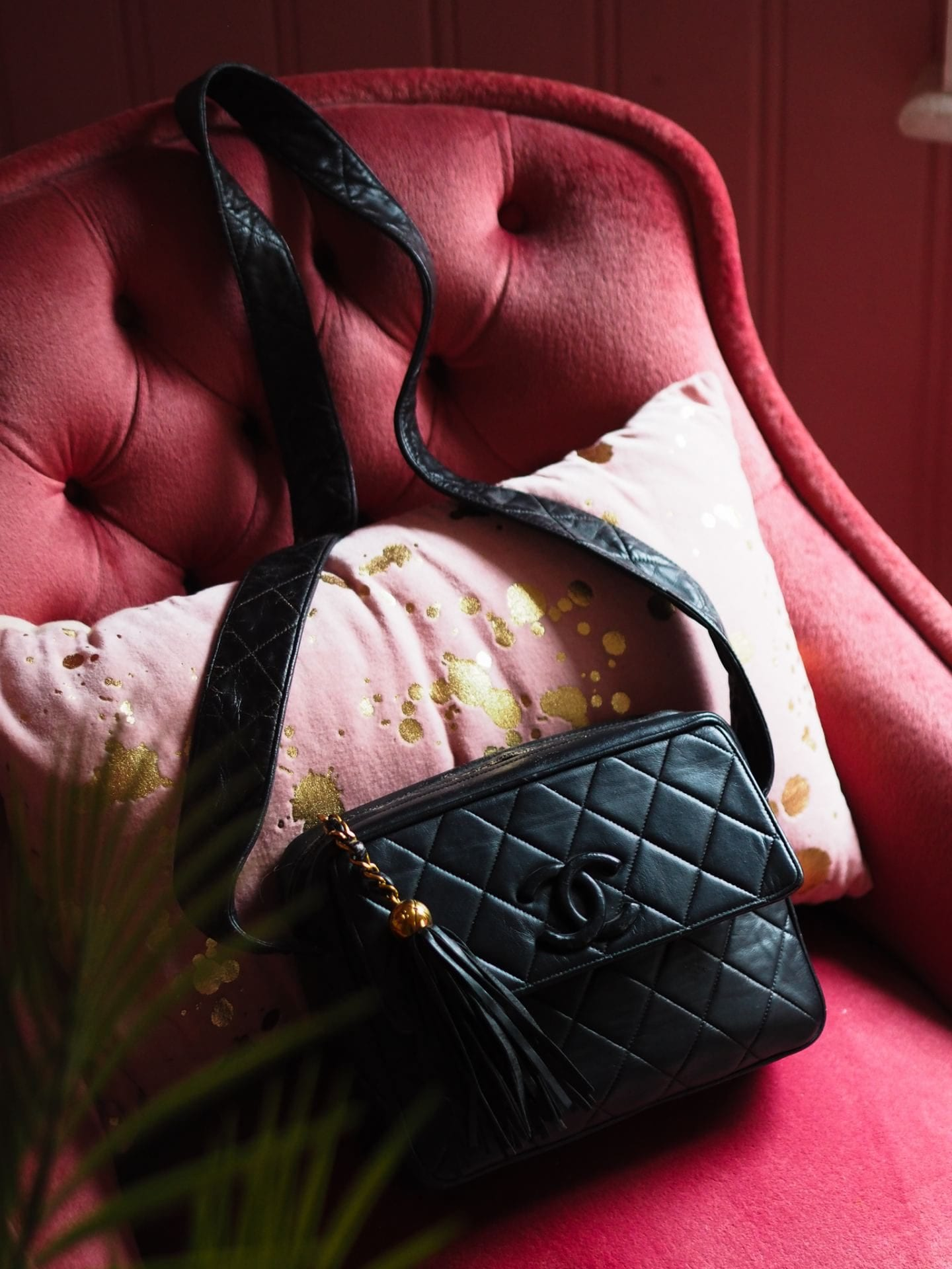vintage chanel camera bag black lambskin leather review preloved where to buy the real real