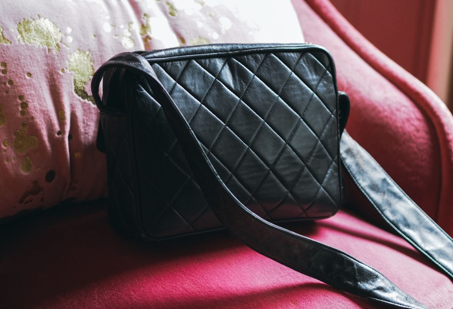 vintage chanel camera bag black lambskin leather review where to buy price