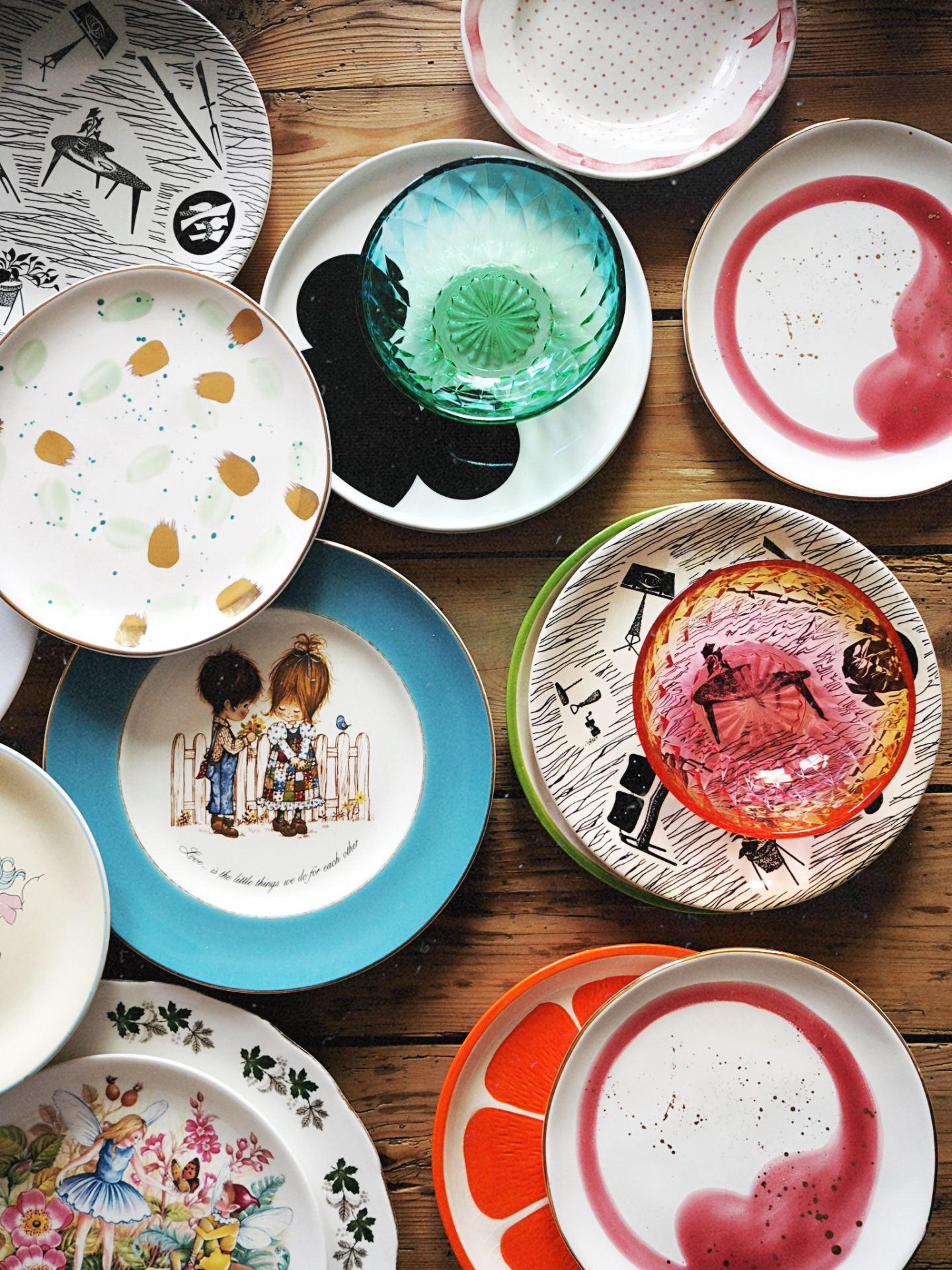 vintage crockery collection anthropologie my little pony rainbow glass plates bowls
