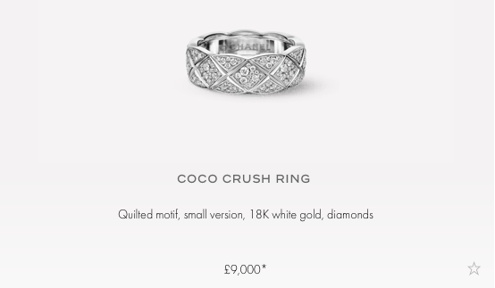 chanel Coco Crush Ring - Small - 18K White Gold - With Diamonds All Over £9,000