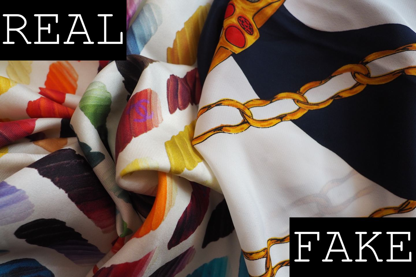 CHANEL SCARF REAL FAKE HOW TO SPOT A FAUX SILK SCARF CHAIN PRINT