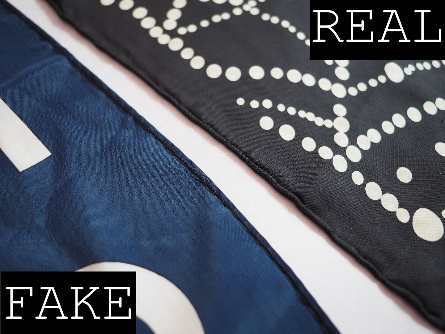 CHANEL SCARF REAL FAKE HOW TO SPOT A FAUX SILK SCARF CLOSE UP