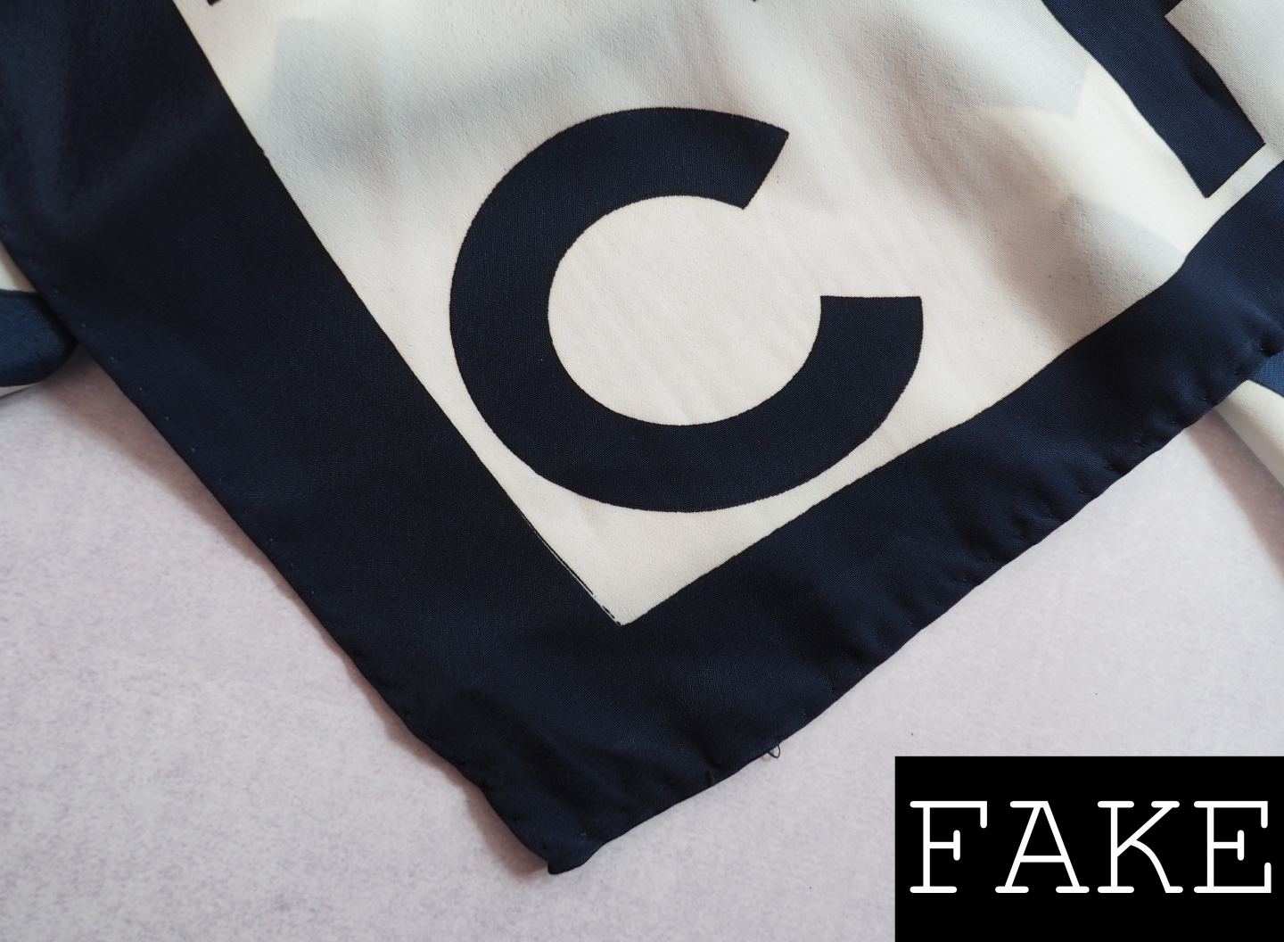 CHANEL SCARF REAL FAKE HOW TO SPOT A FAUX SILK SCARF FONT CLOSE UP