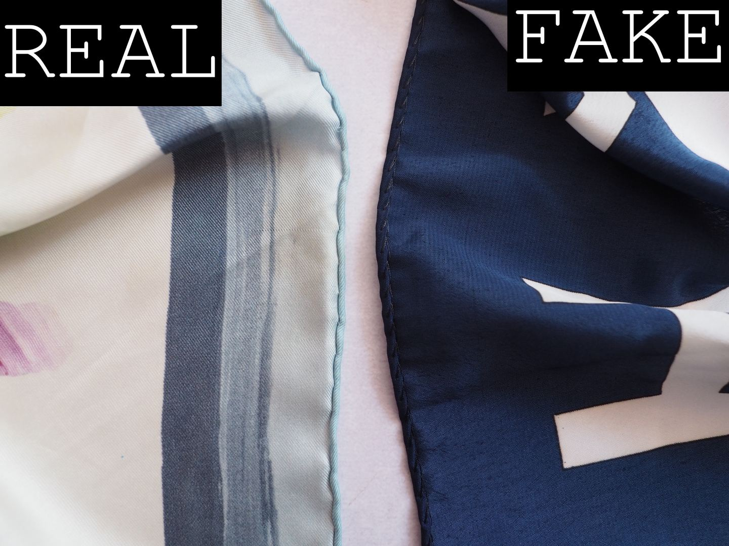 CHANEL SCARF REAL FAKE HOW TO SPOT A FAUX SILK SCARF HAND ROLLED EDGES