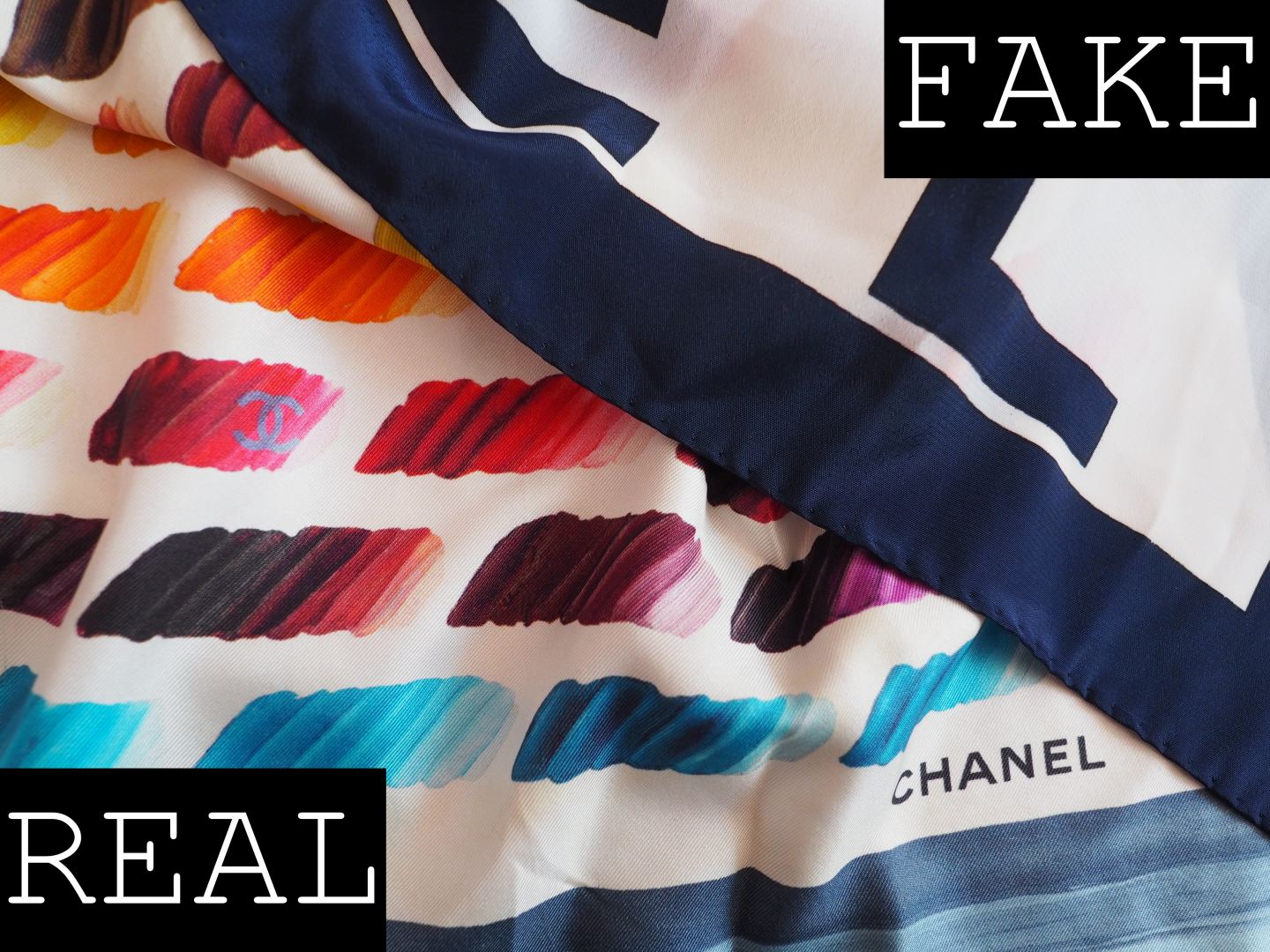 CHANEL SCARF REAL FAKE HOW TO SPOT A FAUX SILK SCARF RAINBOW PRINT