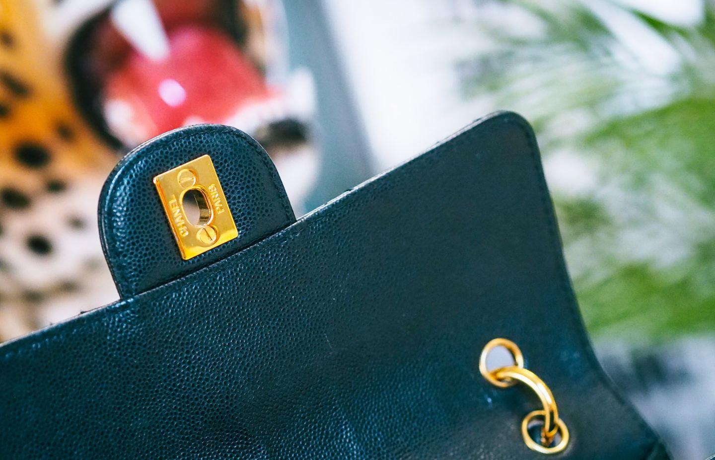 chanel 90s flap shoulder bag review. inside the bag clasp hardware hardwear