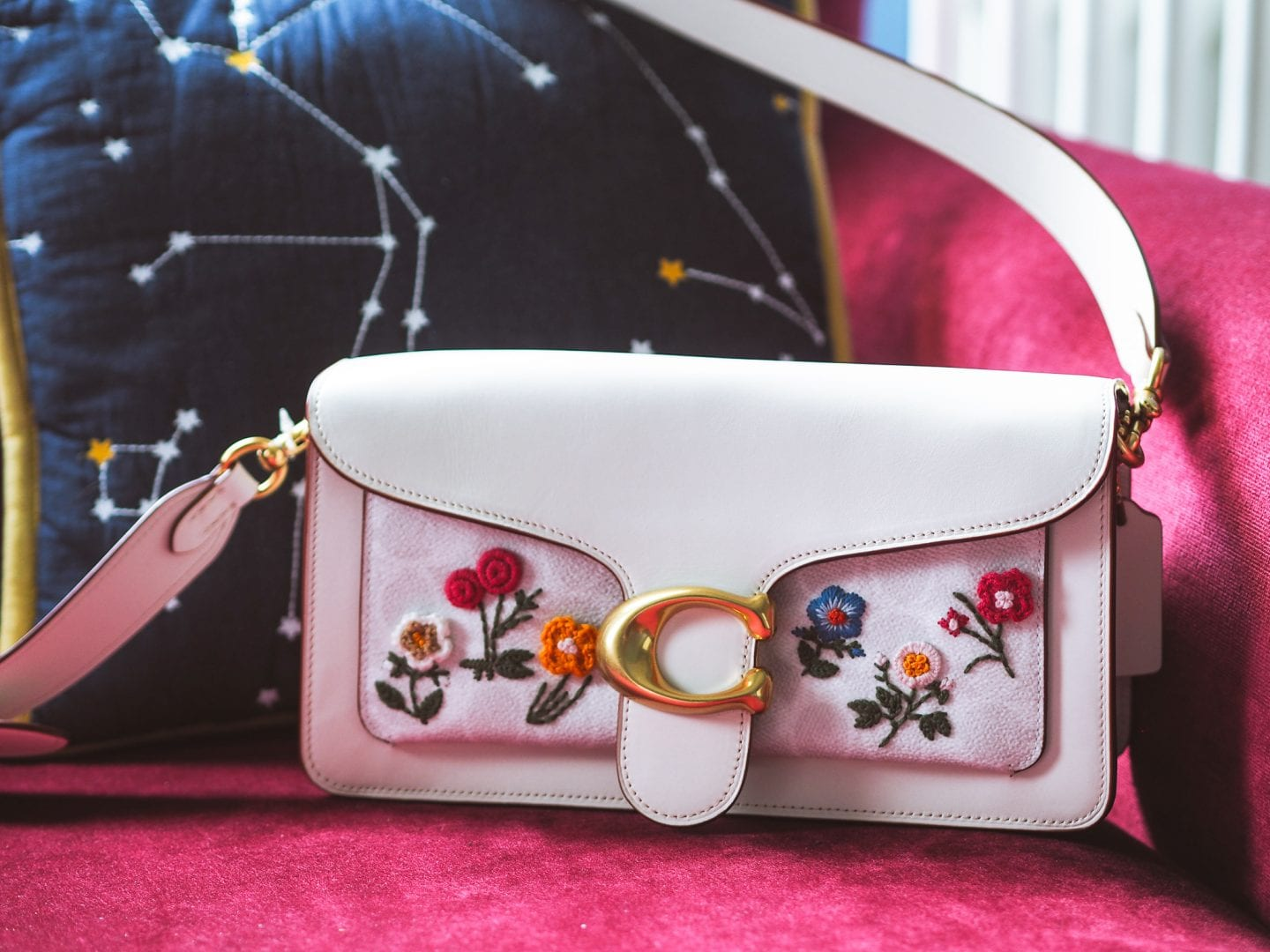 Coach tabby bag floral flowers signiture coated canvas leather white tabby handbag