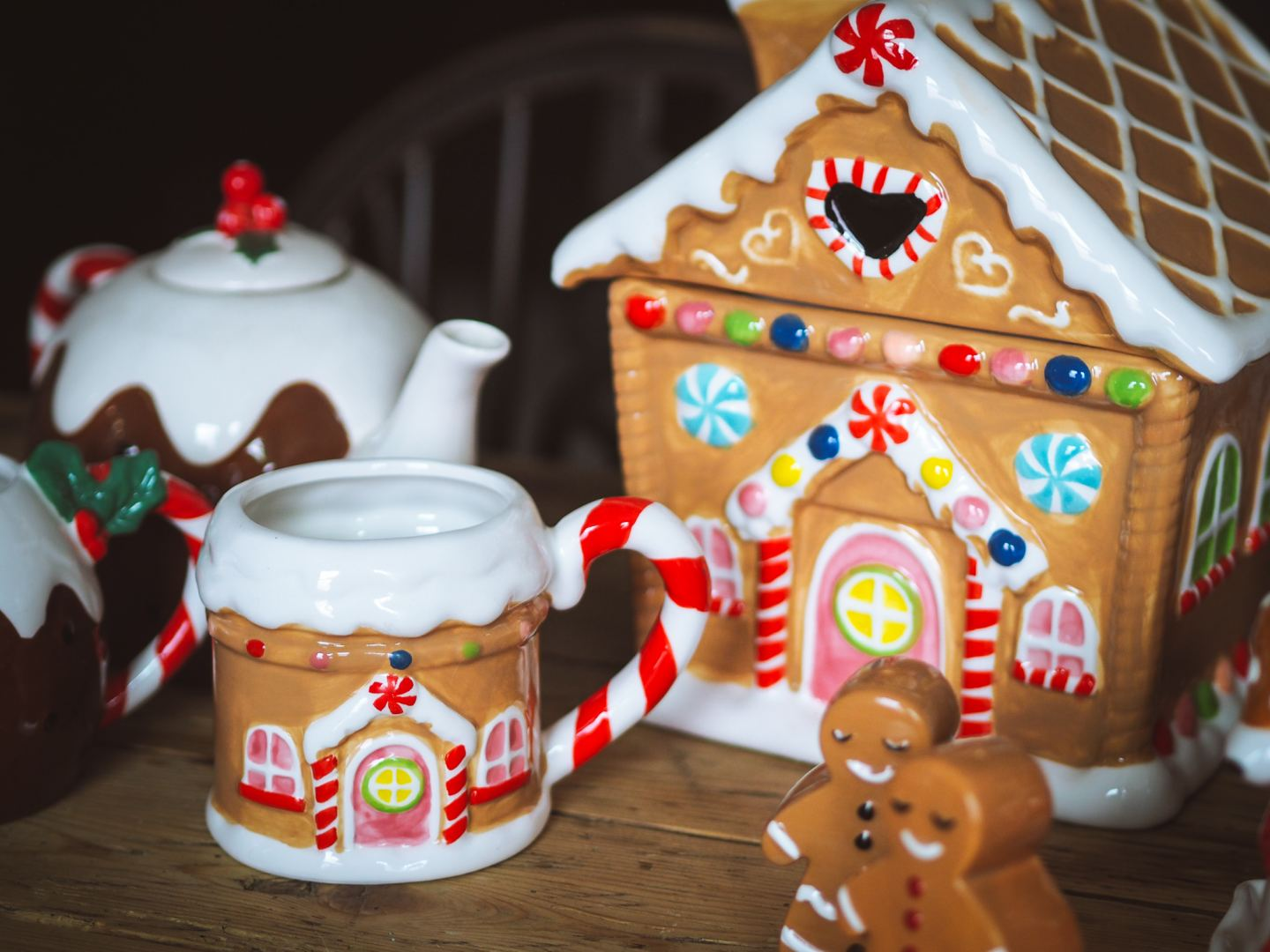 My Christmas Crockery Collection gingerbread house cookie jar