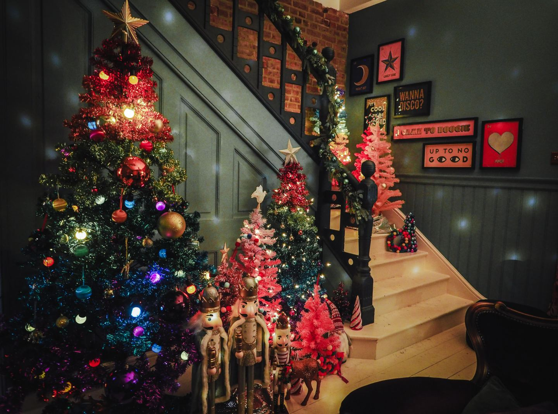 Our Christmas Home At Night rainbow christmas trees