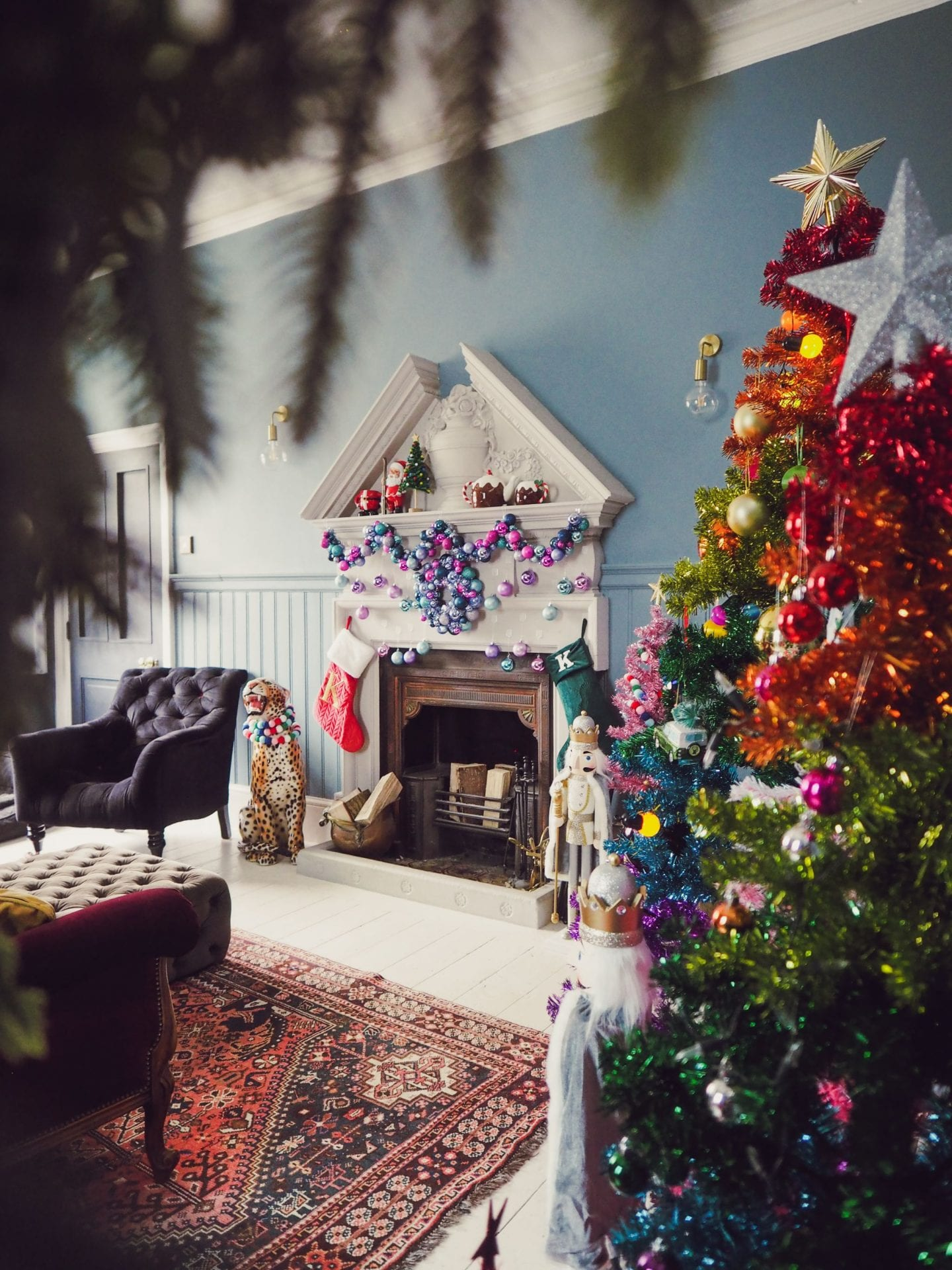christmas rainbow colourful paperchase christmas tree victorian fireplace