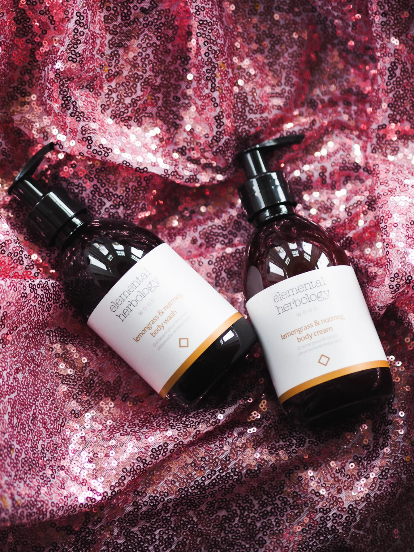 elemental herbology body wash and body lotion
