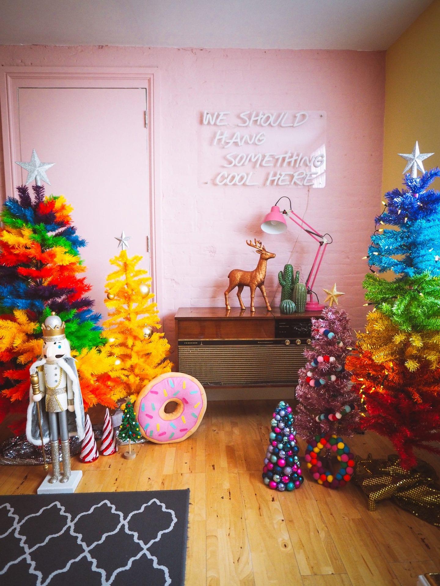 christmas-trees-rainbow-pink-yellow-kitsch-retro-vintage
