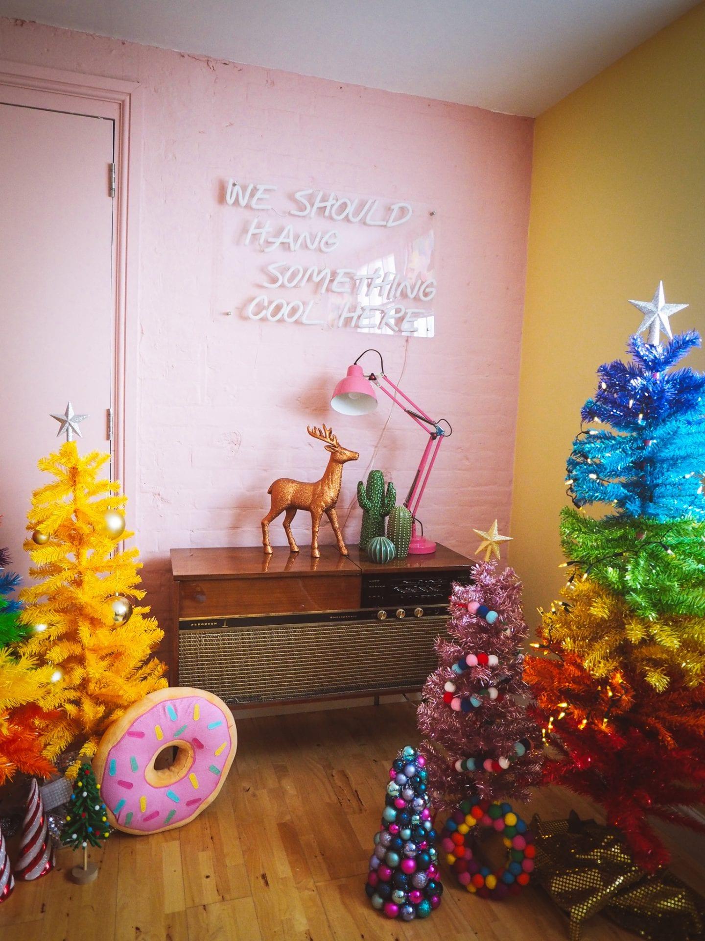 christmas-trees-rainbow-pink-yellow-kitsch-retro-vintage-asda-multicoloured-tree