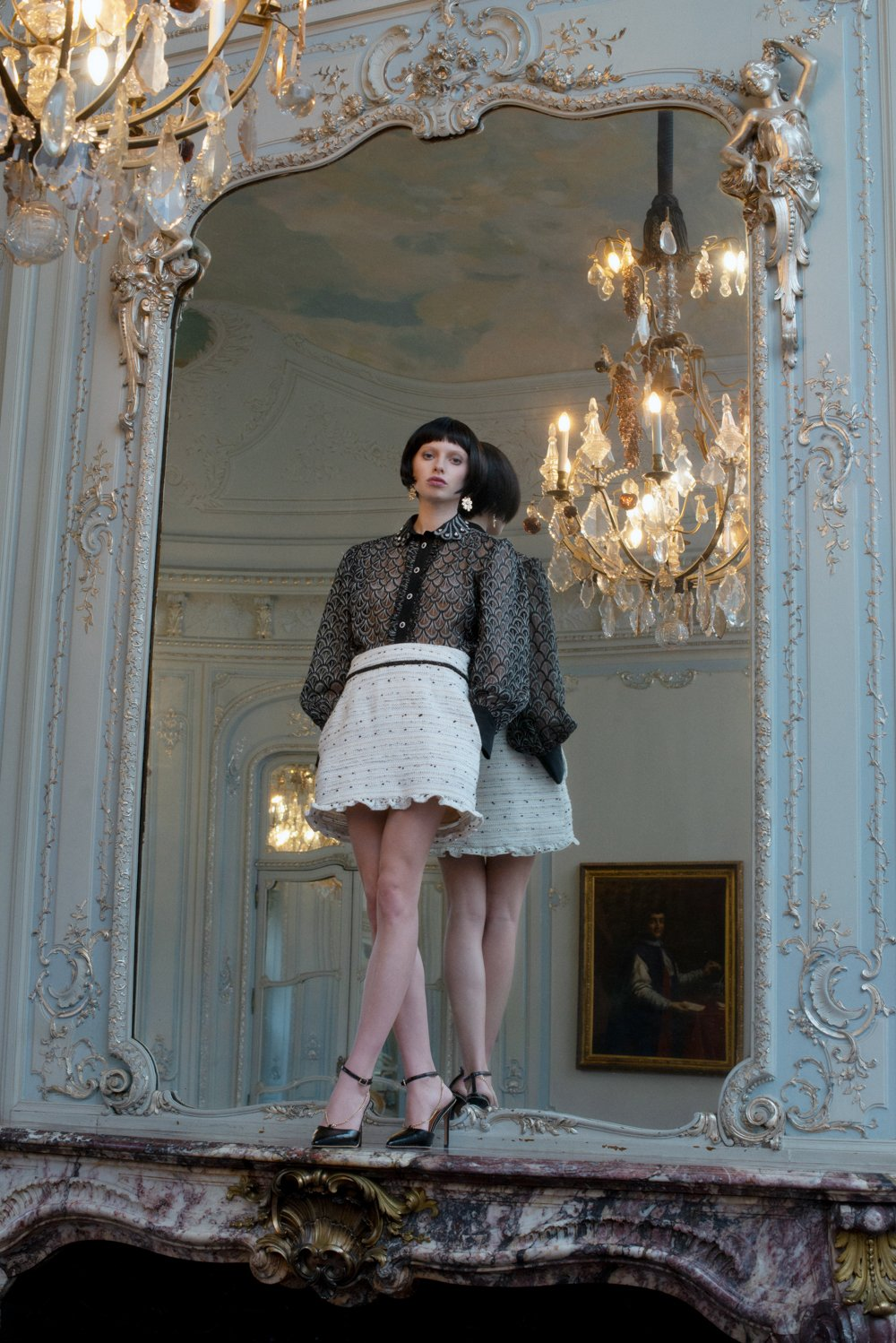 dream sister jane dress chanel style black and white suit