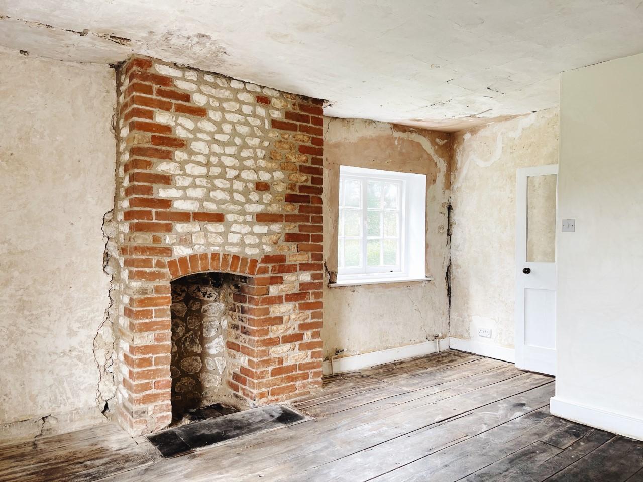 chalk and brick fireplace chimney breast House Renovation: One Month Progress