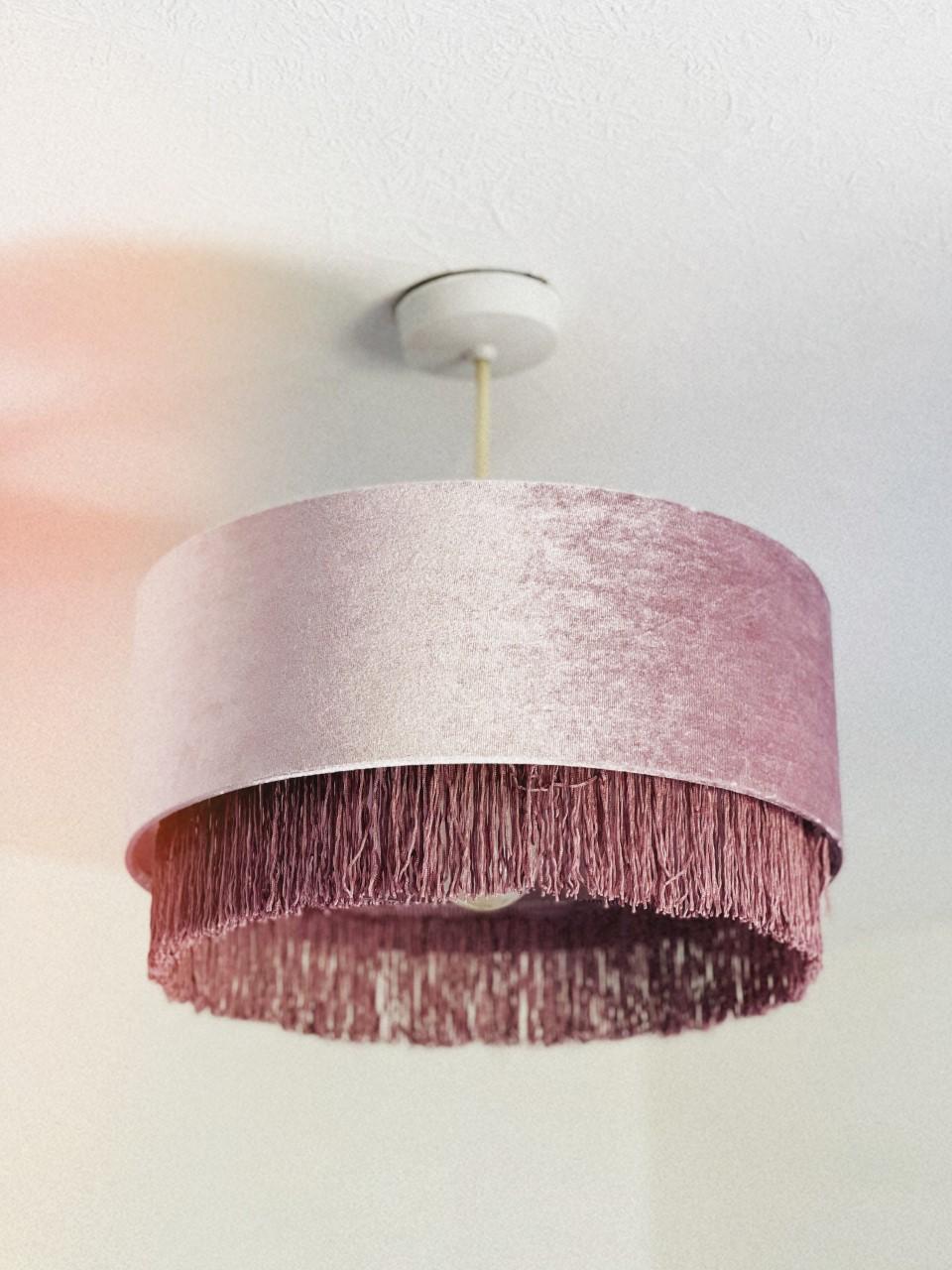 matalan fringing light fitting pink fringe