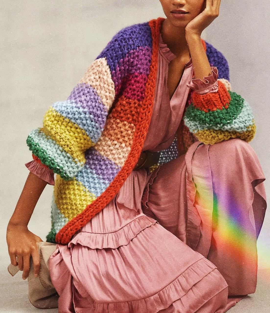 anthropologie Rainbow cardigan