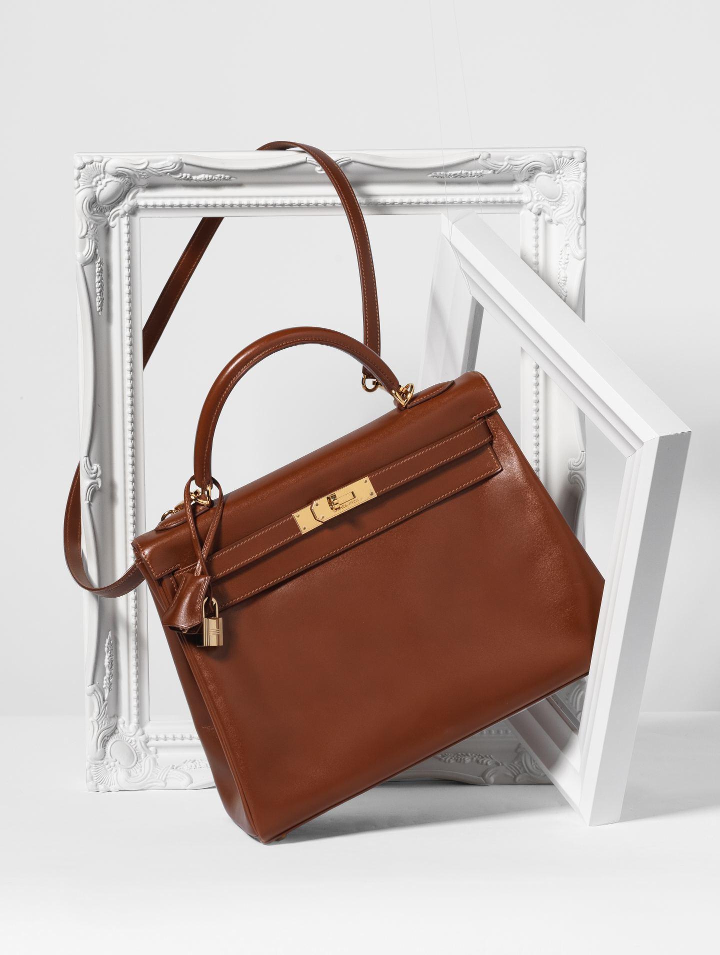 brown tan hermes kelly bag